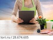 Купить «close up of female gardener with tablet pc», фото № 28674605, снято 3 марта 2015 г. (c) Syda Productions / Фотобанк Лори