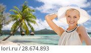Купить «beautiful woman enjoying summer over beach», фото № 28674893, снято 19 июня 2013 г. (c) Syda Productions / Фотобанк Лори