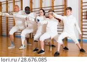 Купить «Portrait of glad mixed age group of athletes», фото № 28676085, снято 30 мая 2018 г. (c) Яков Филимонов / Фотобанк Лори