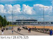 Купить «Вид на стадион Санкт-Петербург арена и ЗСД из парка 300-летия Санкт-Петербурга», эксклюзивное фото № 28676325, снято 18 июня 2018 г. (c) Александр Щепин / Фотобанк Лори