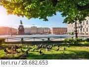 Купить «Николай Первый и голуби Monument to Nikolai the First and pigeons», фото № 28682653, снято 3 июня 2018 г. (c) Baturina Yuliya / Фотобанк Лори