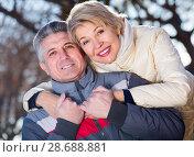 Купить «Positive husband and wife resting together», фото № 28688881, снято 16 октября 2019 г. (c) Яков Филимонов / Фотобанк Лори