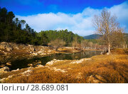 river with forest riverside in autumn day. Catalan Pyrenees. Стоковое фото, фотограф Яков Филимонов / Фотобанк Лори