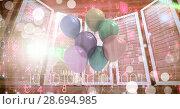 Купить «Computer servers with balloon celebrations», фото № 28694985, снято 22 июля 2018 г. (c) Wavebreak Media / Фотобанк Лори