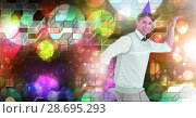 Купить «Fun party man dancing with geometric party lights venue atmosphere», фото № 28695293, снято 16 июля 2020 г. (c) Wavebreak Media / Фотобанк Лори