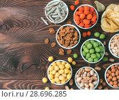 Купить «Different snacks for beer», фото № 28696285, снято 30 июня 2018 г. (c) Ольга Сергеева / Фотобанк Лори