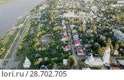 Купить «aerial view of center of Murom town, Russia», видеоролик № 28702705, снято 27 июня 2018 г. (c) Яков Филимонов / Фотобанк Лори