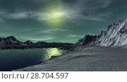 Купить «Чужая планета. Скалы и озеро. Анимация. Панорама. 4К», видеоролик № 28704597, снято 8 июля 2018 г. (c) Parmenov Pavel / Фотобанк Лори