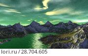 Купить «Чужая планета. Скалы и озеро. Анимация. Панорама. 4К», видеоролик № 28704605, снято 8 июля 2018 г. (c) Parmenov Pavel / Фотобанк Лори