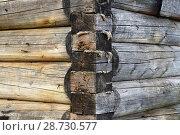 Купить «Строительство деревенского дома, угол деревянного бревенчатого дома. Фрагмент», фото № 28730577, снято 29 июля 2017 г. (c) Елена Александрова / Фотобанк Лори