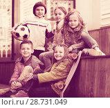 Купить «Portrait of junior school kids», фото № 28731049, снято 22 сентября 2018 г. (c) Яков Филимонов / Фотобанк Лори