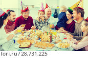 Купить «Family members are saying toasts to each other», фото № 28731225, снято 16 августа 2018 г. (c) Яков Филимонов / Фотобанк Лори