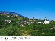 Купить «Село Изобильное на фоне горы Демерджи, Крым», фото № 28738213, снято 14 июня 2018 г. (c) Natalya Sidorova / Фотобанк Лори