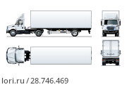 Купить «Vector semi truck template isolated on white», иллюстрация № 28746469 (c) Александр Володин / Фотобанк Лори