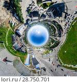 Купить «Aerial city view with crossroads and roads, houses buildings. Copter shot. Panoramic image.», фото № 28750701, снято 19 июля 2013 г. (c) Александр Маркин / Фотобанк Лори