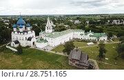 Купить «Aerial view of Suzdal Kremlin with Cathedral of Nativity, oldest part of medieval Russian city of Suzdal», видеоролик № 28751165, снято 29 июня 2018 г. (c) Яков Филимонов / Фотобанк Лори
