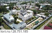 Купить «Aerial view of Trinity and Annunciation Monasteries in Murom», видеоролик № 28751185, снято 27 июня 2018 г. (c) Яков Филимонов / Фотобанк Лори