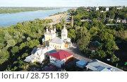 Купить «Panoramic aerial view historical part of the Murom with Oka, Russia», видеоролик № 28751189, снято 28 июня 2018 г. (c) Яков Филимонов / Фотобанк Лори