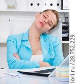 Купить «Office manager woman is sleeping after productive day at work», фото № 28752229, снято 9 июня 2017 г. (c) Яков Филимонов / Фотобанк Лори