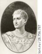 Купить «Augustus, 63 BC-14 AD. Roman statesman, military leader and the first Emperor of the Roman Empire. Illustration by Gordon Ross, American artist and illustrator...», фото № 28756797, снято 14 декабря 2019 г. (c) age Fotostock / Фотобанк Лори