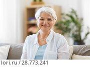 Купить «portrait of happy senior woman laughing», фото № 28773241, снято 24 мая 2018 г. (c) Syda Productions / Фотобанк Лори