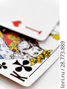 Купить «Set of Clubs suit playing cards on wooden desk», фото № 28773889, снято 16 июня 2017 г. (c) Tetiana Chugunova / Фотобанк Лори