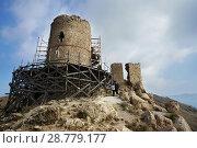 Купить «Генуэзская крепость Чембало (1357) на горе Кастрон, в реставрационных лесах на фоне неба. Crimea, Balaklava.», фото № 28779177, снято 10 октября 2016 г. (c) Светлана Попова / Фотобанк Лори