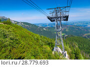 Metal support for the funicular on the background of beautiful mountains in Zakopane, Poland. Стоковое фото, фотограф Константин Лабунский / Фотобанк Лори