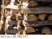 Купить «Дрова, сложенные в поленницу», фото № 28780317, снято 16 июля 2018 г. (c) Яковлев Сергей / Фотобанк Лори