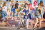 Купить «Russia, Samara, July 2017: an elegant beautiful girl with a bicycle to participate in a women's bike ride through the streets of the city», фото № 28789753, снято 20 августа 2017 г. (c) Акиньшин Владимир / Фотобанк Лори