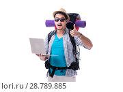 Купить «Tourist trying to find direction with laptop», фото № 28789885, снято 27 апреля 2018 г. (c) Elnur / Фотобанк Лори