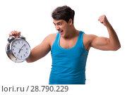 Купить «Man waking up with alarm clock isolated on white», фото № 28790229, снято 7 ноября 2016 г. (c) Elnur / Фотобанк Лори