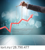 Купить «Hand supporting the growth chart line», фото № 28790477, снято 12 июля 2020 г. (c) Elnur / Фотобанк Лори