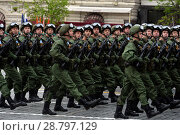 Купить «Десантники 331-го гвардейского парашютно-десантного Костромского полка во время генеральной репетиции парада на Красной площади в честь Дня Победы», фото № 28797129, снято 6 мая 2018 г. (c) Free Wind / Фотобанк Лори