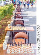 Купить «Tables with chessboard prepared for lovers on the embankment of the Volga River in a summer sunny day», фото № 28797153, снято 12 августа 2017 г. (c) Акиньшин Владимир / Фотобанк Лори