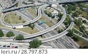 Купить «Aerial view of highway grade separation in Barcelona, Spain», видеоролик № 28797873, снято 12 июня 2018 г. (c) Яков Филимонов / Фотобанк Лори