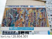Купить «Мозаичное полотно времен СССР на Доме печати в Тюмени», эксклюзивное фото № 28804301, снято 20 июля 2018 г. (c) Землянникова Вероника / Фотобанк Лори