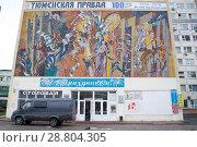 Купить «Мозаичное полотно времен СССР на Доме печати в Тюмени», эксклюзивное фото № 28804305, снято 20 июля 2018 г. (c) Землянникова Вероника / Фотобанк Лори