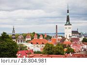 Вид на старый Таллин с церковью Святого Олафа (Олевисте) (2018 год). Редакционное фото, фотограф Victoria Demidova / Фотобанк Лори