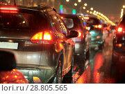 Купить «traffic jam or collapse in a city street road on holiday», фото № 28805565, снято 22 декабря 2017 г. (c) Дмитрий Калиновский / Фотобанк Лори
