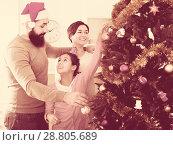 Купить «Family members preparing for Christmas», фото № 28805689, снято 16 августа 2018 г. (c) Яков Филимонов / Фотобанк Лори