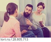 Купить «Parents lecturing daughter», фото № 28805713, снято 21 сентября 2018 г. (c) Яков Филимонов / Фотобанк Лори