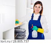Купить «Female cleaner at work», фото № 28805737, снято 29 мая 2020 г. (c) Яков Филимонов / Фотобанк Лори