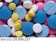 Купить «Macro shot of colorful medicaments, top view», фото № 28806237, снято 7 августа 2017 г. (c) Pavel Biryukov / Фотобанк Лори