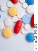 Купить «Macro shot of colorful medicaments, top view.», фото № 28806253, снято 7 августа 2017 г. (c) Pavel Biryukov / Фотобанк Лори