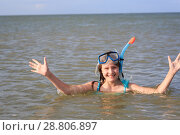 girl of thirteen in a mask for diving into the sea. Стоковое фото, фотограф Типляшина Евгения / Фотобанк Лори