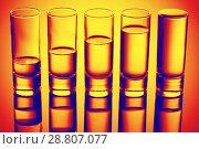 Купить «row of glasses for vodka», фото № 28807077, снято 22 июня 2015 г. (c) Евдокимов Максим / Фотобанк Лори
