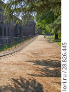 Купить «MILAN, ITALY - July 7, 2018: Milan, Lombardy, Italy: the castle known as Castello Sforzesco», фото № 28826445, снято 7 июля 2018 г. (c) Григорий Стоякин / Фотобанк Лори