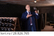 Купить «Sommelier tasting red wines in winery basement», фото № 28826765, снято 22 января 2018 г. (c) Яков Филимонов / Фотобанк Лори