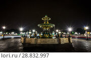 Купить «Place Concorde at night with fountains rivers and seas», фото № 28832997, снято 5 сентября 2014 г. (c) Сурикова Ирина / Фотобанк Лори